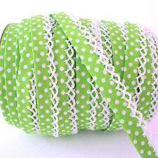 Vert citron-picot dentelle crochet bord dot bias binding Spot trim plié par M