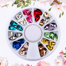 New 12 Colors Nail Art Round Glitter Rhinestones Plate Fingernail Decor Wheel