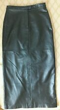 maxi LEATHER Long SKIRT 6 28/37 -Straight -Back slit/Front zip MARGARET GODFREY