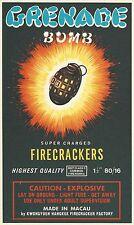 "OLD MACAU KWONGYUEN HANGKEE ""GRENADE BOMB BRAND"" 80/16 FIRECRACKER BRICK LABEL"