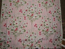 Vtg UNUSED Waverly Bonded Fabric Daisies Stripes Pink Flowers Floral Upholstery