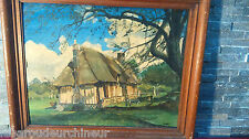 Peinture maison en campagne signée. Campaign house painting signed NORMANDIE