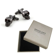 Mens Gunmetal Skull With Red Crystal Cufflinks & Gift Box By Onyx Art