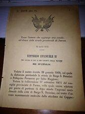 REGIO DECRETO 1875 ST PARMA BORGO S DONNINO PELLEGRINO PARMENSE SALSO MAGGIORE