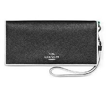 NWT Coach 55295 Slim Wallet in Tricolor Edgestain Leather Black Tricolor