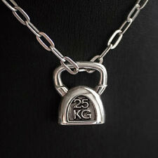Kettlebell Charm NECKLACE Kettle Bell SILVER 925 Fitness Weightlifting crossfit