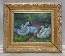 Gorgeous White Ducks Oil Painting on Canvas in Gold Antique Style Ornate Frame