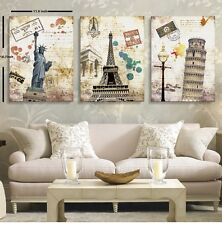 3PCS Famous building MODERN HUGE WALL ART PAINTING ON CANVAS No Frame