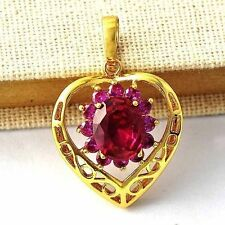 Fashion Womens Yellow Gold Filled red Ruby flower Womens Heart Pendant jewelry
