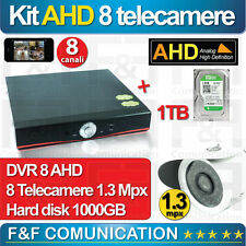 KIT VIDEOSORVEGLIANZA 8 TELECAMERE AHD HD FULL HD COMPLETO FAI DA TE HD 1000 GB