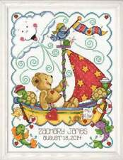 "Tobin Baby ~ Sail Away Birth Sampler ~ 11""x14"" Counted Cross Stitch Picture Kit"