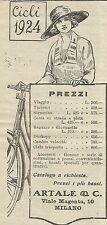 W5962 Listino Prezzi Cicli Artale & C. - Pubblicità 1924 - Advertising