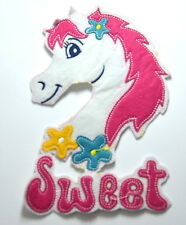 SWEET PONY WHITE HORSE   Embroidered Sew Iron On Cloth Patch Badge APPLIQUE