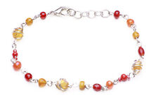 NEW FASHION BOHO STYLE RED & ORANGE BEADS BRACELET ON SILVER WIRE CHAIN(ZX49)