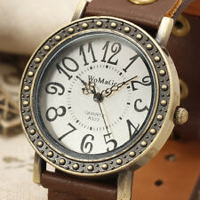 RETRO Women's Girl Genuine Leather Quartz Wrist Watch Bracelet Odm Analog Times