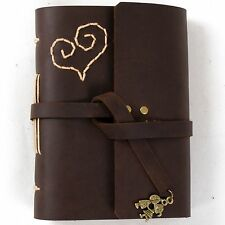 Ancicraft Leather Journal with Lovely Heart and Sweet Kiss Lovers A6 Blank Paper