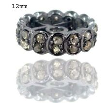 .925 Sterling Silver Rondelle Spacer Pave Natural Diamond Findings Jewelry 12 MM
