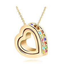 Fashion Women Double Heart Mix Crystal Charm Pendant Chain Necklace Gold IO36