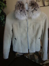 Women's Longcham Sheepskin Leather and fox Fur Jacket Sz 36