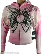 KEY CLOSET Women's Zip Hoody/Jacket with Love Heart Print Pink (KCTP009)