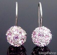 18K WHITE GOLD PLATED PALE PURPLE BALL DANGLE EARRINGS USE SWAROVSKI CRYSTALS