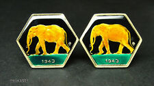 1943 Belgian Congo coin cufflinks 2 Franc elephant rare and nice coin