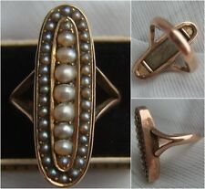 Rare Antique GEORGIAN 9ct Rose GOLD Seed Pearl MOURNING Ring & Hair LOCKET Back