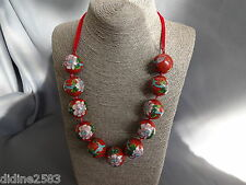 ANCIEN COLLIER ASIE PERLE CLOISONNE ROUGE FIL DE SOIE FLORAL RED PEARL NECKLACE