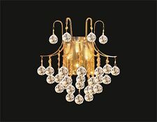 """WALL SCONCE with Clear Crystal Balls (W15"""" x H16"""" x E9"""") Gold Frame, 3 lights"""