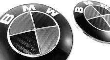 BLACK & SILVER Carbon Fiber Complete Set Vinyl Sticker Overlay All BMW Emblems