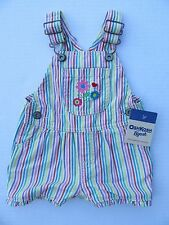 NWT Oshkosh B'Gosh Baby Girls Overall Shorts 9 months Striped Romper Jumpsuit