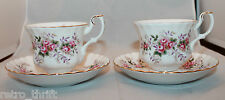 Royal Albert Bone China Lavender Rose 2 Coffee Tea Mug Cups Sauces Set England