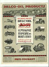 DEPLIANT DELCO OIL MARSEILLE AUTO/MOTO/AVION