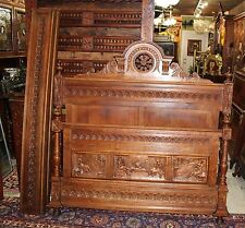 Beautiful French Antique Carved Oak Brittany Full / Queen Size Bed.