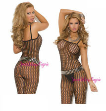 Sexy CROCHET NET Crotchless BODYSTOCKING Soft Fishnet TANK STYLE Open Crotch OS
