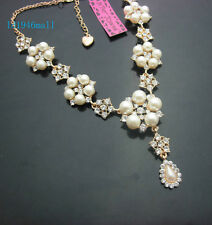 D696  Betsey Johnson Bling Crystal Pearl Star Short Paragraph Necklaces