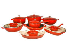 Le Chef 19-Piece ALL Enamel Cast Iron Cherry Cookware Set. ON SALE!