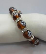 Stainless Steel ball bead round CZ Brown EYE Crystal Bangle stretchy Bracelet 6""