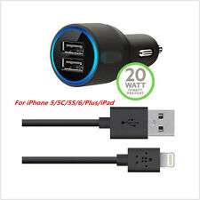 2-Port Led 2.1A Car Charger & Micro-USB Cable For iPhone 5/5C/5S/6/Plus/iPad