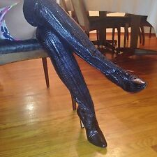 Manolo Blahnik Black Snake Skin Stretch Over the Knee Women's Boots Size 5.5