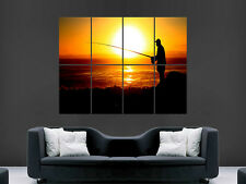 FISHING MAN SUNSET SILHOUETTE SPORT WALL POSTER ART PICTURE PRINT LARGE  HUGE