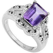 LOVELY 2.40 CTW BLACK  DIAMOND & AMETHYST IN 925 STERLING SILVER RING