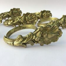 ANTIQUE BRASS CURTAIN RINGS x8 Decorative Leaf Casting 2 1/4 inch diameter