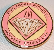 Alcoholics Anonymous AA NA PINK 16 Year Medallion Clean Token Chip sober Coin