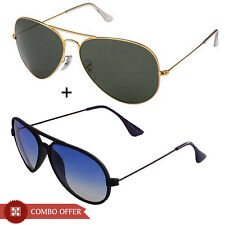 Magjons Combo Of Blue Yuva and Golden Green aviator  MJ2251