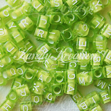 200 Green 6mm Block Cube alphabet letter pony beads For Rave Kandi 100+ crafts