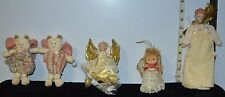 Lot of 5 Christmas Angel Tree Toppers & Cloth Bear Angels, Lighted, Porcelain
