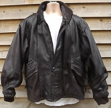 Vintage Growl Heavy Brown Leather Bomber / Flying Flight Jacket  XL / 44""
