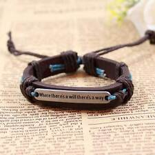 Alloy Where There Is A Will There Is A Way Fashion Men Women Leather Bracelet