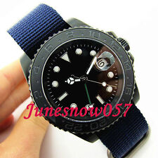 Parnis 40mm ceramic bezel GMT sapphire glass Nylon strap Automatic men's watch